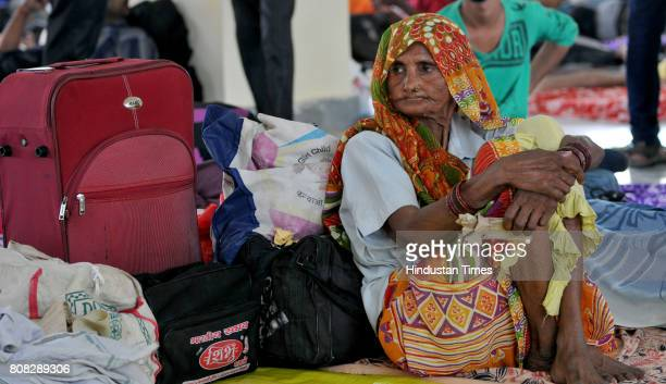 An old devotee at yatri base camp on July 4 2017 in Jammu India Another batch of 1786 pilgrims on Tuesday left Jammu for the highaltitude Amarnath...
