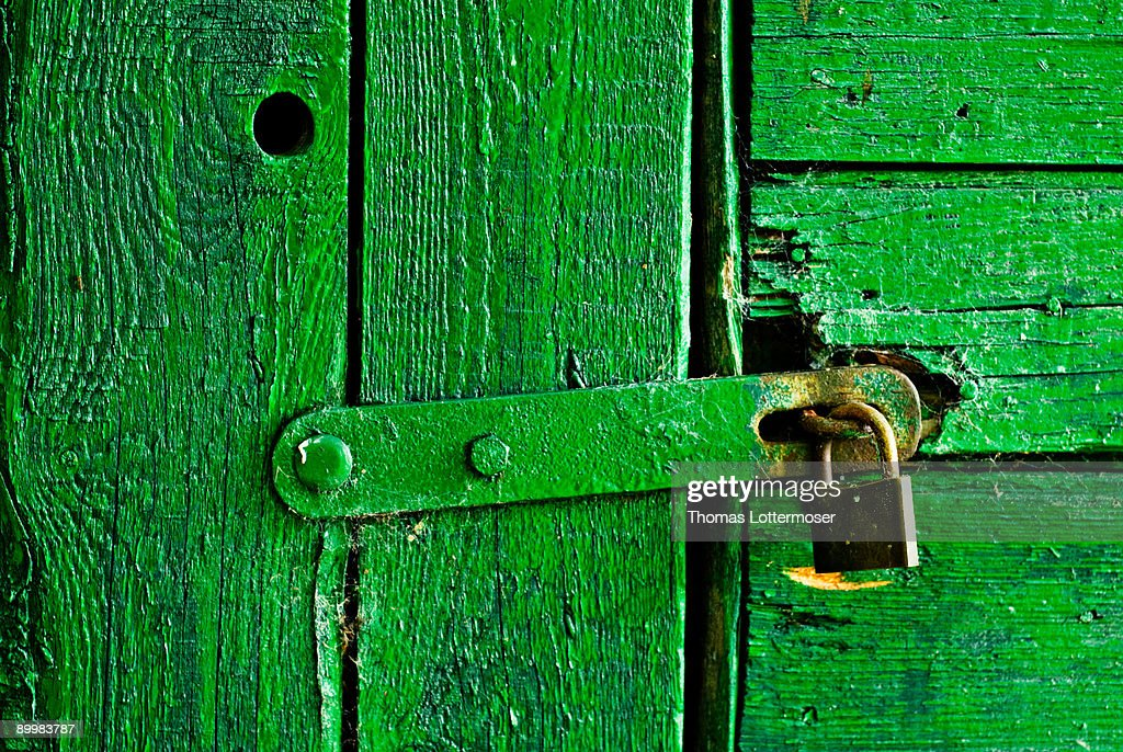 An old green door : Stock Photo