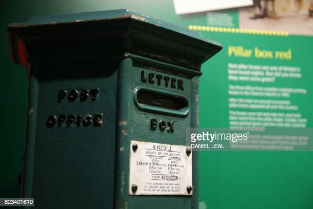 01 GMT / An old green letter Box is displayed during a media preview of the new Postal Museum and the Mail Rail attraction in London on July 26 2017...