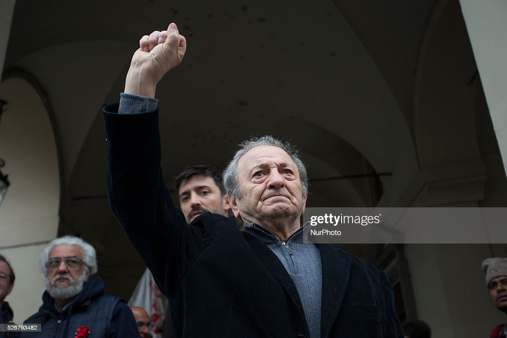 an old left nostalgic show the fist during the rally on Labour Day in Turin, Italy, on May 1, 2016..