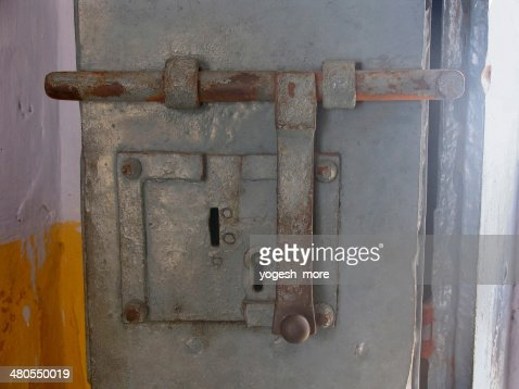 An old locking system at Cochin synagogue : Stock Photo