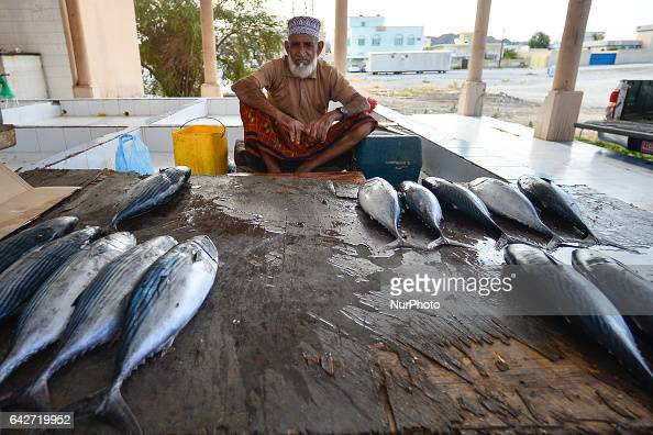 An old man a tuna vendor seats at his stand with tunas for sale inside a fish market awaiting for customers On Saturday February 18 in Samail Ad...
