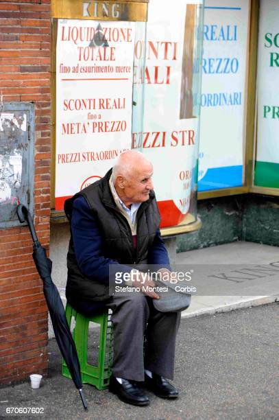 An old man begging on Via Bissolati on November 7 2008 in Rome Italy