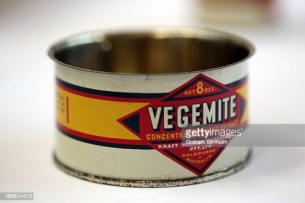An old packaging tin of Vegemite is seen during a press call to celebrate the Vegemite brand's 90th year at the Vegemite factory on October 24 2013...