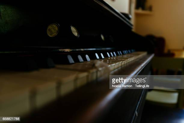 An old piano with bird feathers on top of the keyboard in a small church, at a farm