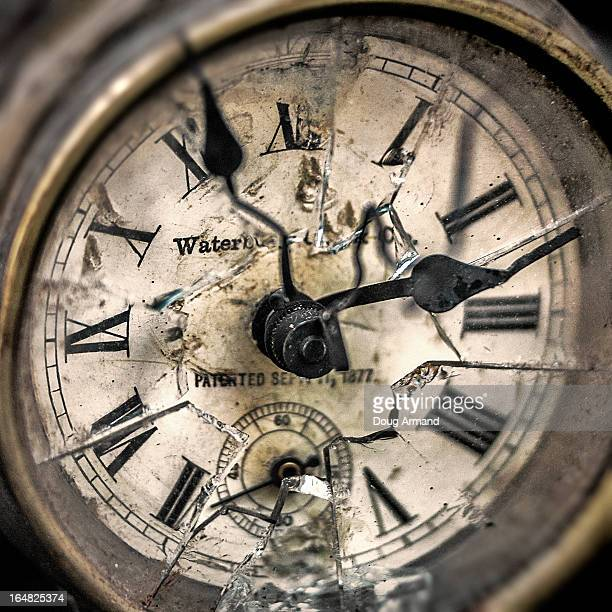 An old shattered clock face