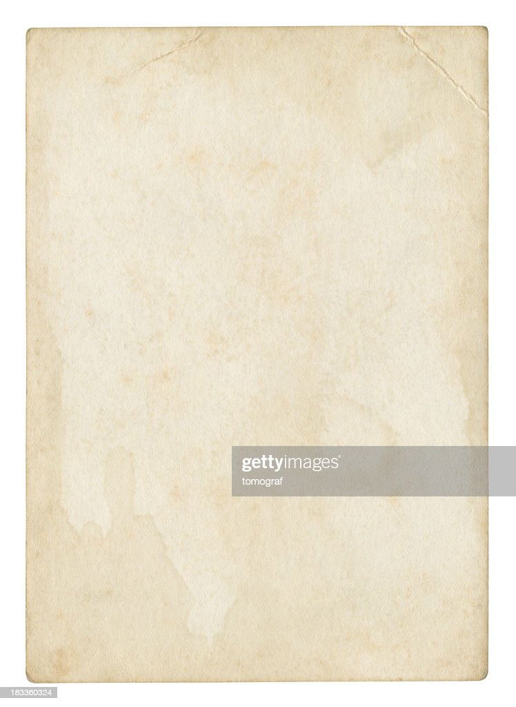 An old stained blank piece of beige paper