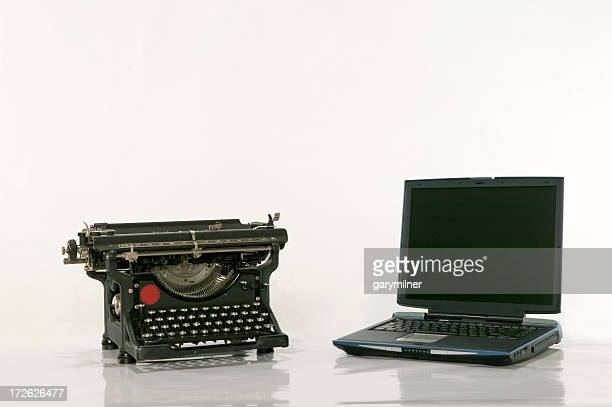 An old typewriter next to a new laptop on a white background