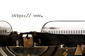Old typewriter with text http - add own web address