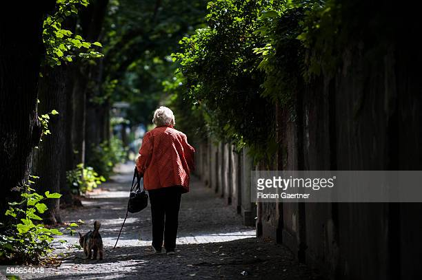 An old woman takes a walk with her dog on August 11 2016 in Berlin Germany