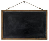 An old wooden framed blackboard hangs from a rusty nail, isolated on white, clipping path included. Good copy space with lots of rustic character.