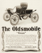 An Oldsmobile automobile is shown in an advertisement from 1903 The Oldsmobile was made in the United States