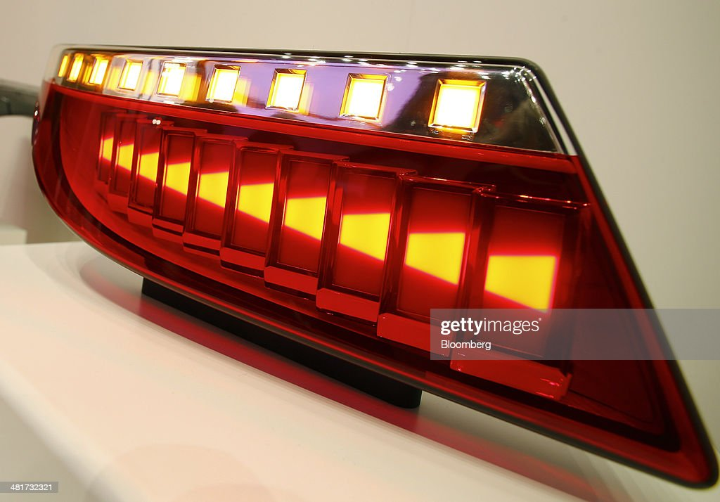An OLED car rear light sits on display at the Osram Licht AG booth at the Light and Building Architecture and Technology Fair, in Frankfurt, Germany, on Monday, March 31, 2014. The Light and Building Architecture and Technology Fair takes place from March 30 to April 4 2014. Photographer: Ralph Orlowski/Bloomberg via Getty Images