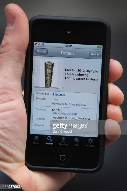 An Olympic torch is auctioned on Ebay on May 21 2012 in London England Internet auction sites such as eBay have been flooded with official London...