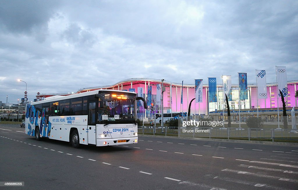 An Olympic transport bus arrives at the Main Press Centre ahead of the Sochi 2014 Winter Olympics at the Olympic Park on February 5 2014 in Sochi...