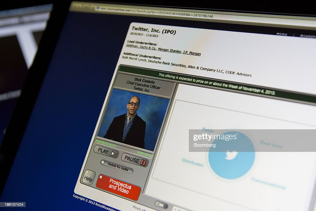 An online video featuring Richard 'Dick' Costolo, chief executive officer of Twitter Inc., on the Retailroadshow.com website is seen on a laptop computer arranged for a photograph in Washington, D.C., U.S., on Monday, Oct. 28, 2013. Twitter Inc., which embarks on its road show to investors today, will make the case to potential investors in its initial public offering that it needs to keep spending to grow, and profit will come once it can reap the benefits of those investments. Photographer: Andrew Harrer/Bloomberg via Getty Images