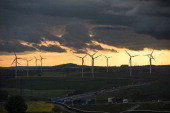 An onshore wind farm pictured on a field on May 14 2014 near Eisenach Germany