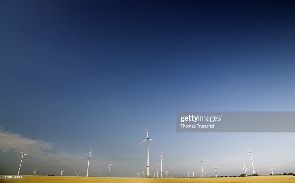 An Onshore Wind Farm with Wind Turbines are pictured on July 17, 2013 near Schenkenberg, Germany. The European Commission has launched an investigation into Germany's renewable energy law, on the grounds that it breaches EU competition regulations.