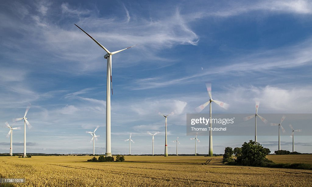 An Onshore Wind Farm with Wind Turbines are pictured on July 17, 2013 near Brietzig, Germany. The European Commission has launched an investigation into Germany's renewable energy law, on the grounds that it breaches EU competition regulations.