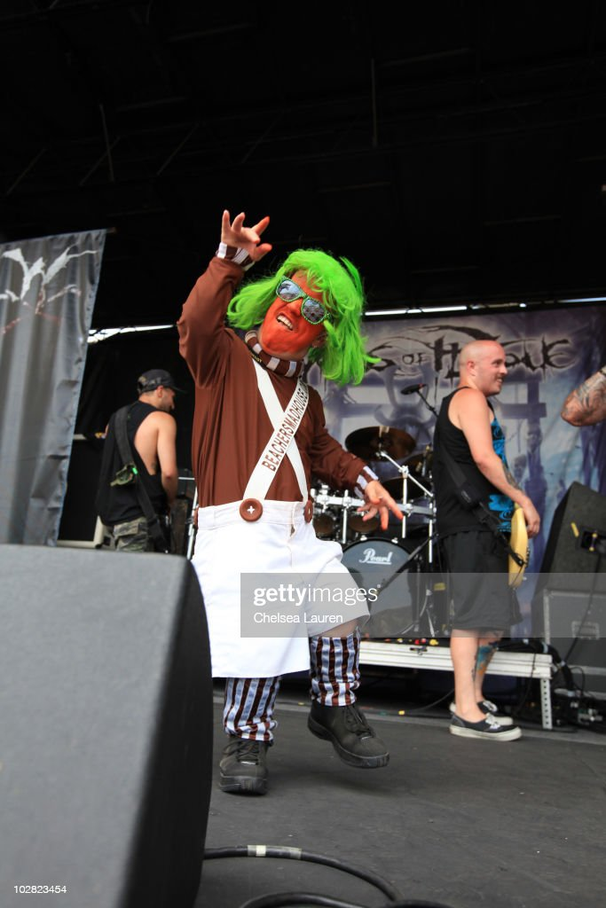 An Oompa Loompa from Beacher's Madhouse on stage as Winds of Plague performs at the 2010 Rockstar Energy Drink Mayhem Festival at San Manuel...