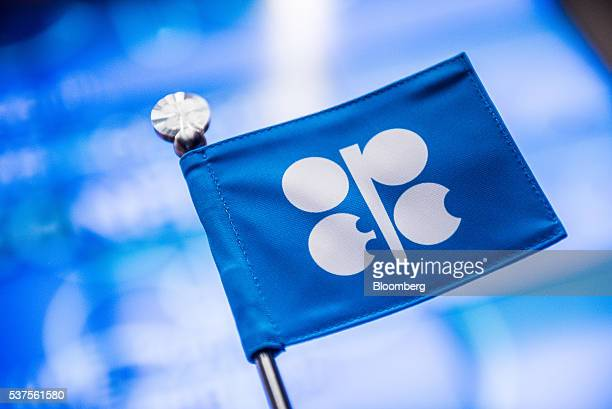 An OPEC branded flag sits on a table ahead of the 169th Organization of Petroleum Exporting Countries meeting in Vienna Austria on Thursday June 2...