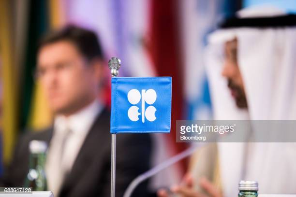 An OPEC flag stands on the desk during a news conference following the 172nd Organization of Petroleum Exporting Countries meeting in Vienna Austria...
