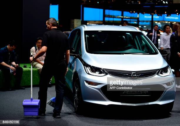 An Opel Amperae electric car is presented at the Frankfurt Auto Show IAA in Frankfurt am Main Germany on September 13 2017 According to organisers...