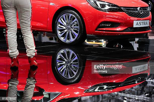 An Opel Astra automobile produced by General Motors Co sits on display on the second day of the 86th Geneva International Motor Show in Geneva...