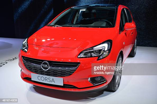 An Opel Corsa is on display during the 93rd European Motor Show at Brussels Expo on January 15 2015 in Brussels Belgium