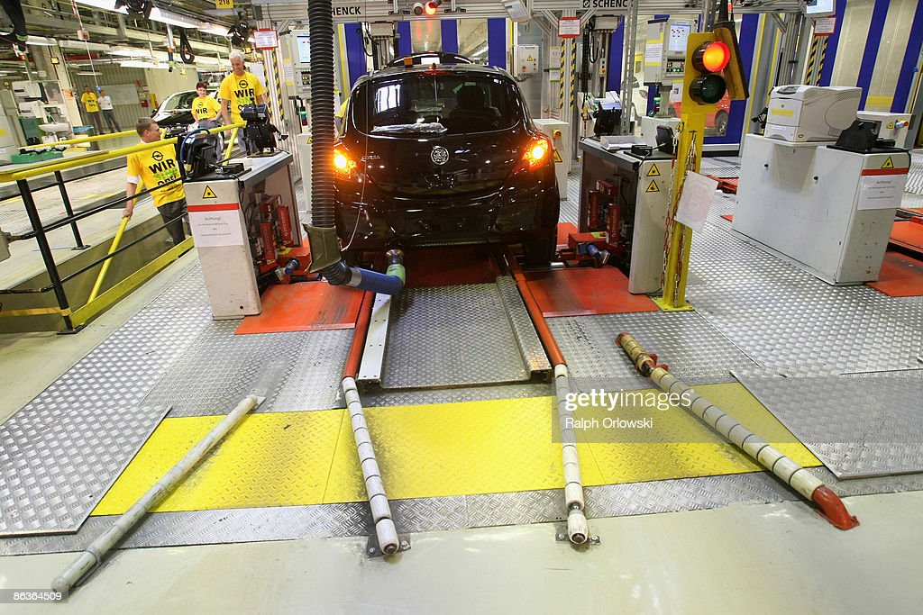 An Opel Corsa stands on a test stand for breaks at a plant on May 4, 2009 in Eisenach, Germany. Representatives of the German government, officials of car manufacturer Opel and managers of Italian carmaker Fiat will meet today in Berlin to discuss a merger between Fiat, Opel and U.S. carmaker Chrysler.