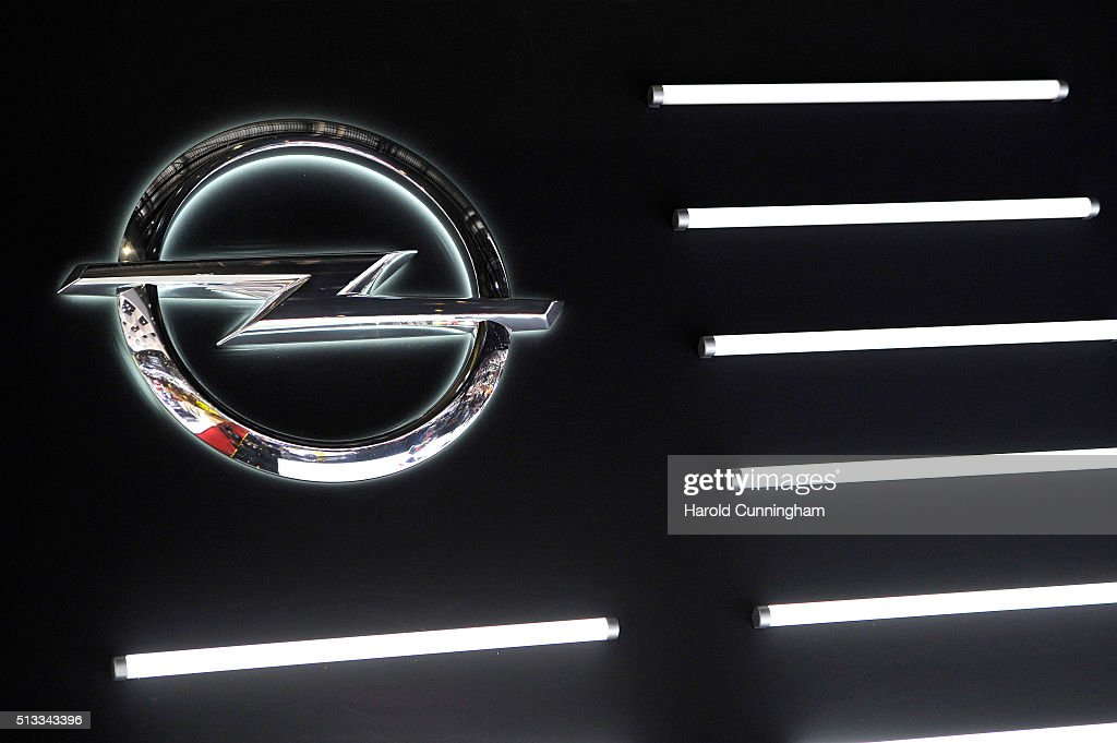 An Opel logo is displayed during the Geneva Motor Show 2016 on March 2 2016 in Geneva Switzerland