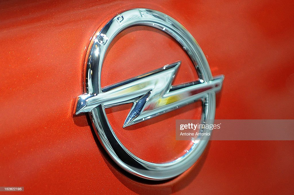 An Opel logo is seen on the new Opel Adam car at the Paris Auto Show on September 27 2012 in Paris France Opel which has been owned by General Motors...