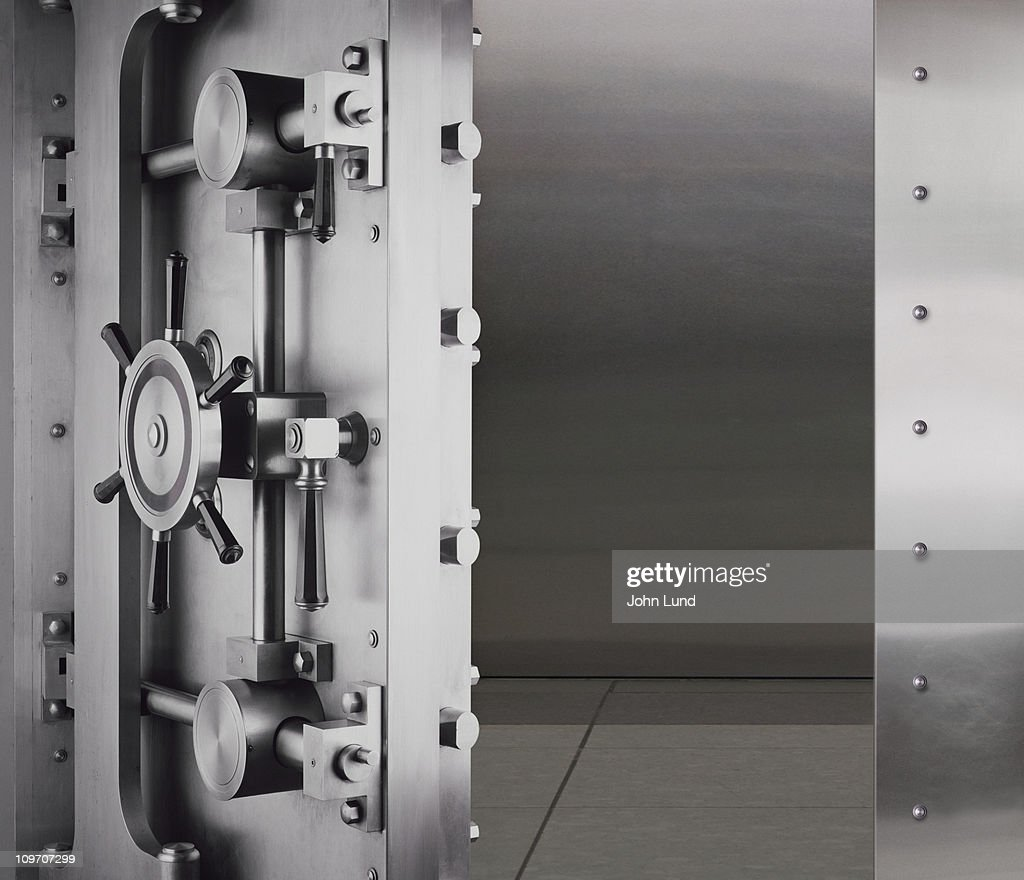 An open and empty bank vault