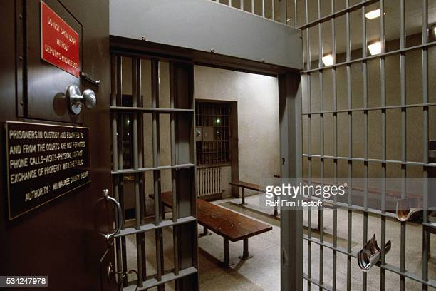 An open door leads to the jail cell used to confine Jeffrey Dahmer between trial sessions Dahmer stood trial for murdering and dismembering several...