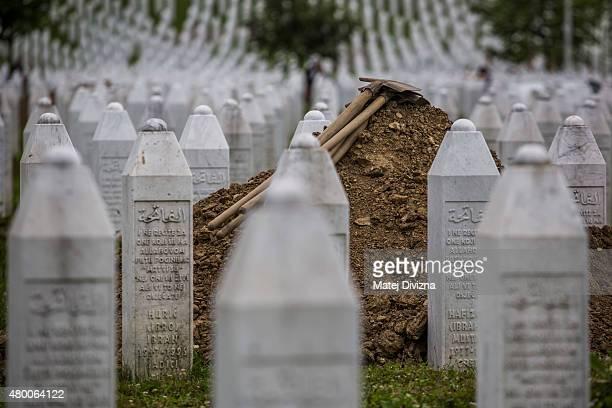 An open grave is prepare for ceremony at the Potocari cemetery and memorial near Srebrenica on July 9 2015 in Srebrenica Bosnia and Herzegovina The...