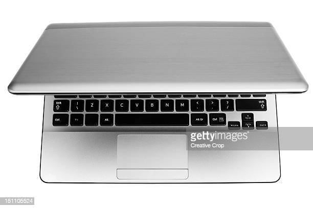 An open laptop computer, on white background