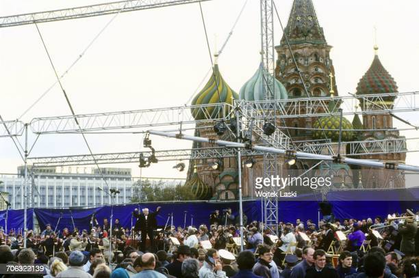 an openair concert of Mstislav Rostropovich famous Russian cellist and conductor Moscow Red Square Russia on September 26th 1993