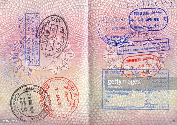 An opened passport with entry stamps on both pages