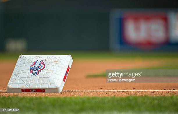 An Opening Day base during a game between the Minnesota Twins and the Kansas City Royals on April 13 2015 at Target Field in Minneapolis Minnesota...
