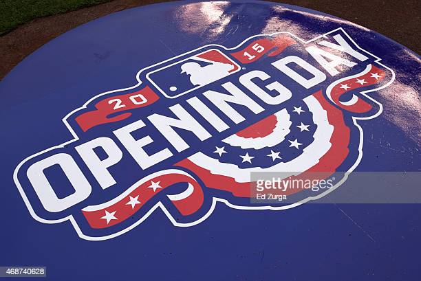 An opening day mat rest in the batting circle prior to an opening day game between the Chicago White Sox and Kansas City Royals on April 6 2015 at...