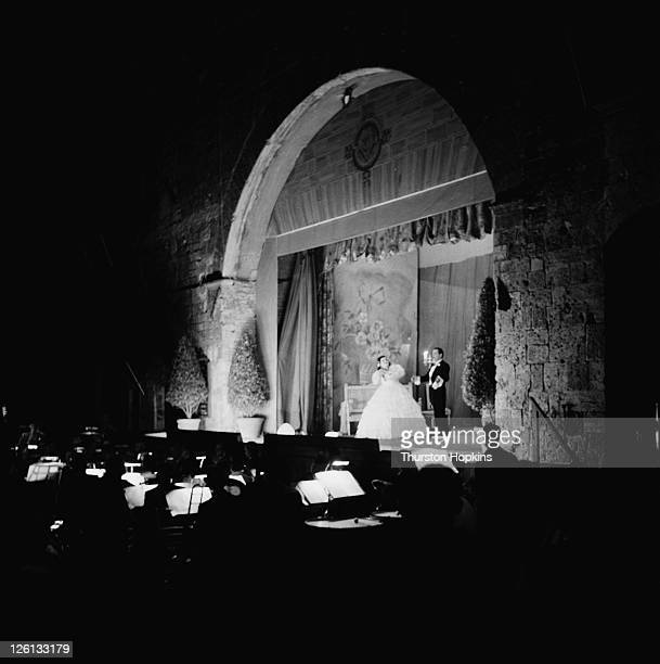 An opera being performed in the open air in the Tuscan hill town of San Gimignano Italy August 1955 Original publication Picture Post 7958 Open Air...