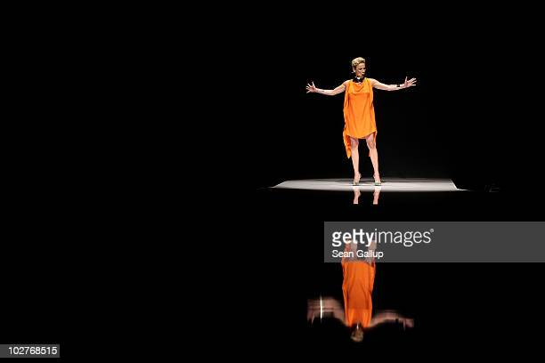An opera singer performs ahead of the Michalsky Show at the Michalsky Style Nite at Tempodrom during the Mercedes Benz Fashion Week Spring/Summer...