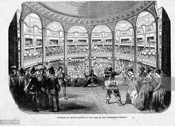 An operatic performance during the Max Maretzek's bennefit at Castle Garden New York Maretzek headed the Italian Opera Troupe in 1852