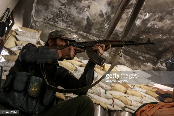 An opposition forces is seen in a bulwark during a clash after Assad Regime's forces hit a deconflict zone of opposition controlled Jobar...