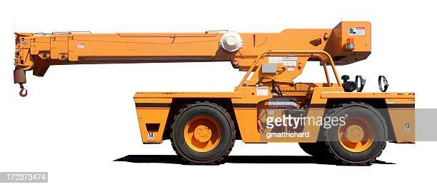 An orange crane with it's shadow on a white background