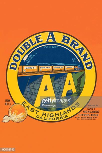 An orange crate label featuring a train from the East Highlands Double A Brand The label states the oranges were shipped 'direct from California to...