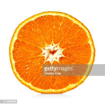 An orange cut in half