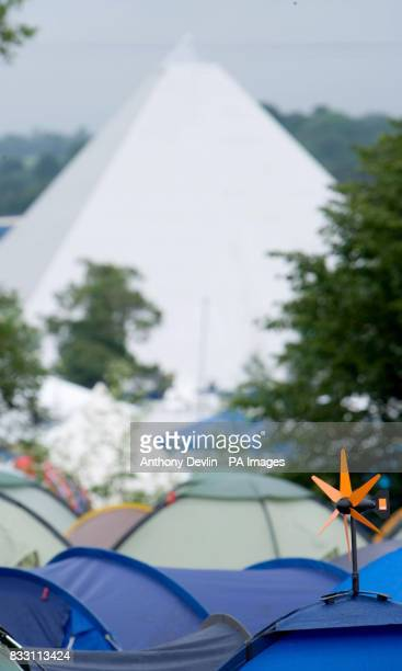 An Orange wind turbine phone charger is seen on a tent at the 2007 Glastonbury Festival at Worthy Farm in Pilton Somerset