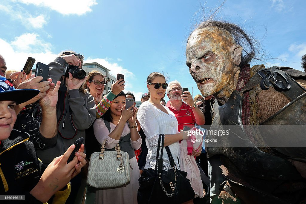 An orc interacts with fans after a prosthetic demonstration during the Hobbit Artisan Market ahead of the 'The Hobbit: An Unexpected Journey' world premiere at Waitangi Park on November 25, 2012 in Wellington, New Zealand.