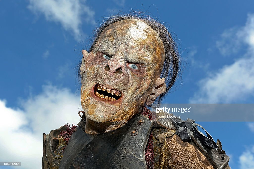 An orc poses after a prosthetic demonstration during the Hobbit Artisan Market ahead of the 'The Hobbit: An Unexpected Journey' world premiere at Waitangi Park on November 25, 2012 in Wellington, New Zealand.